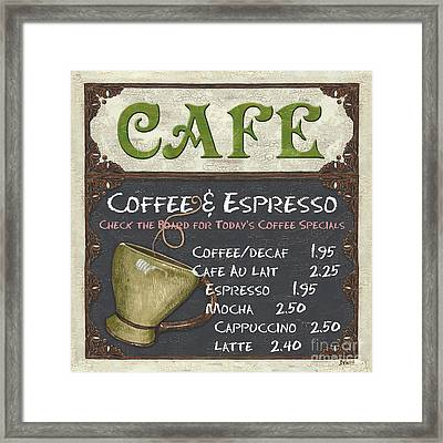 Cafe Chalkboard Framed Print by Debbie DeWitt
