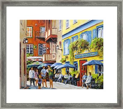 Cafe In The Old Quebec Framed Print by Richard T Pranke