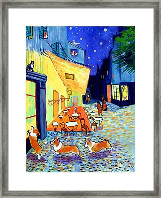 Cafe Terrace At Night - After Van Gogh With Corgis Framed Print by Lyn Cook