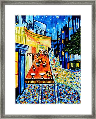 Cafe Terrace At Night Framed Print by Art by Danielle
