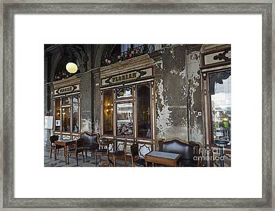 Cafe Terrace On Piazza San Marco Framed Print by Sami Sarkis