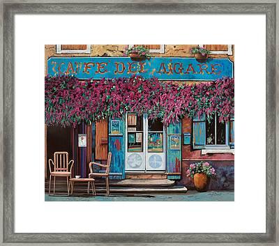 caffe del Aigare Framed Print by Guido Borelli