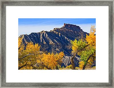 Caineville Mesa In Fall Colors Framed Print by Utah Images