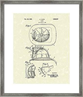 Cairns Helmet 1932 Patent Art Framed Print by Prior Art Design