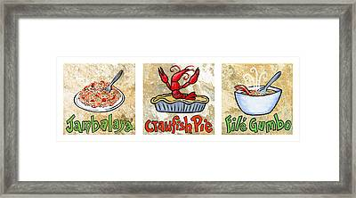 Cajun Food Trio White Border Framed Print by Elaine Hodges