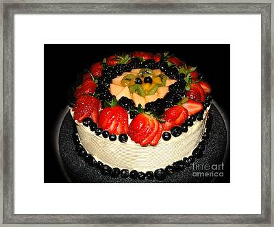 Cake Decorated With Fresh Fruit Framed Print by Sue Melvin