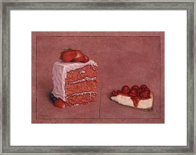 Cakefrontation Framed Print by James W Johnson
