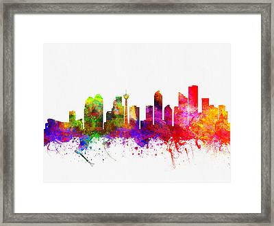 Calgary Alberta Skyline Color02 Framed Print by Aged Pixel