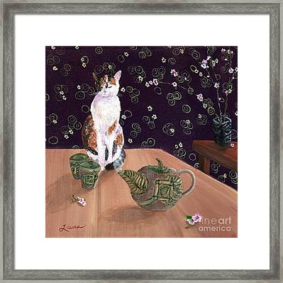 Calico Tea Meditation Framed Print by Laura Iverson