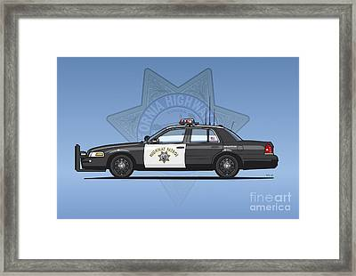 California Highway Patrol Ford Crown Victoria Police Interceptor Framed Print by Monkey Crisis On Mars