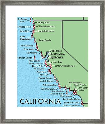 California Lighthouse Map Framed Print by Christine Till