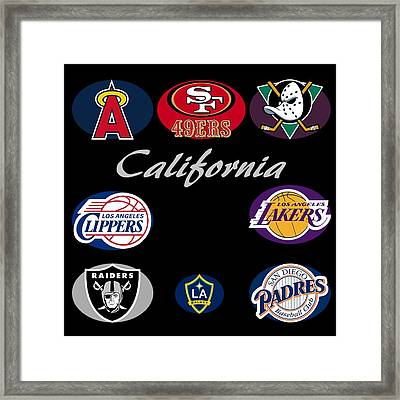 California Professional Sport Teams Collage  Framed Print by Movie Poster Prints
