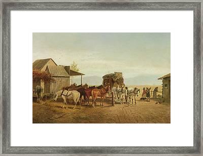 California Stagecoach Halt Framed Print by William Hahn