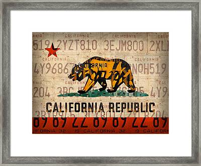 California State Flag Recycled Vintage License Plate Art Framed Print by Design Turnpike