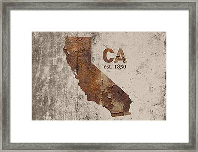 California State Map Industrial Rusted Metal On Cement Wall With Founding Date Series 007 Framed Print by Design Turnpike
