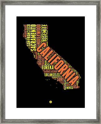 California Word Cloud Map 1 Framed Print by Naxart Studio