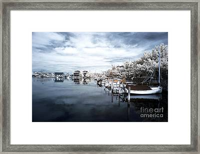 Calm At Lbi Blue Infrared Framed Print by John Rizzuto