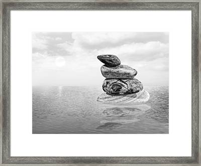 Calm Waters In Black And White Framed Print by Gill Billington