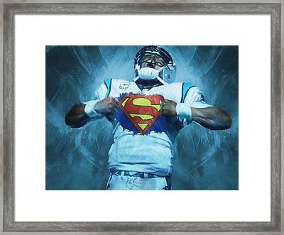 Cam Newton Superman Framed Print by Dan Sproul