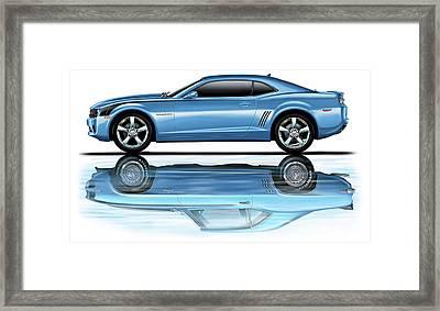 Camaro 2010 Reflects Old Blue Framed Print by David Kyte