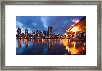 Cambie Bridge At Blue Hour Framed Print by Alan W