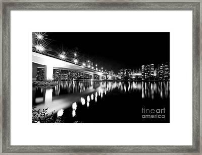 Cambie Street Bridge Monochrome Framed Print by Terry Elniski