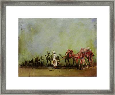 Camels And Desert 3 Framed Print by Mahnoor Shah