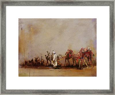 Camels And Desert 3b Framed Print by Mahnoor Shah