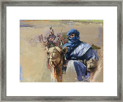 Camels And Desert 4 Framed Print by Mahnoor Shah