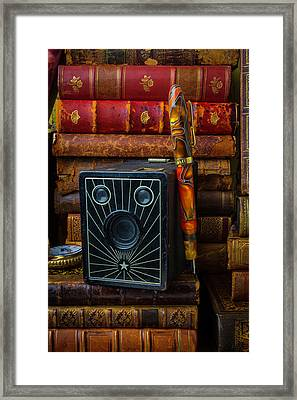 Camera And Old Books Framed Print by Garry Gay