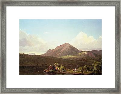 Camp Fire In The Maine Wilderness Framed Print by Frederic Edwin Church