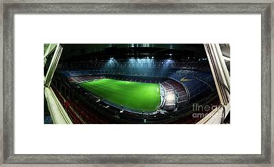 Camp Nou At Night Framed Print by Agusti Pardo Rossello