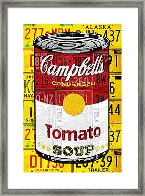 Campbells Tomato Soup Can Recycled License Plate Art Framed Print by Design Turnpike