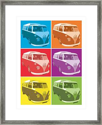 Camper Van Pop Art Framed Print by Michael Tompsett