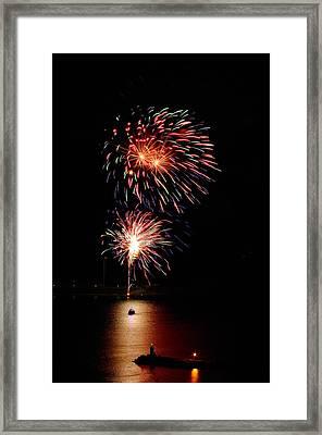 Canada Day Fireworks July 01 2015 Framed Print by Paul Wash