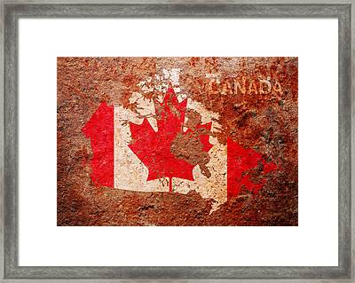 Canada Flag Map Framed Print by Michael Tompsett