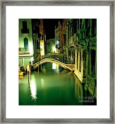 Canal And Bridge In Venice At Night Framed Print by Michael Henderson