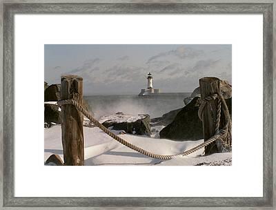 Canal Park Lighthouse Framed Print by Heidi Hermes