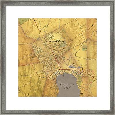 Canandaigua Map Art Framed Print by Paul Hein