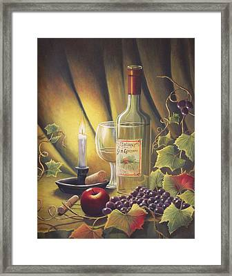 Candlelight Wine And Grapes Framed Print by Diana Miller