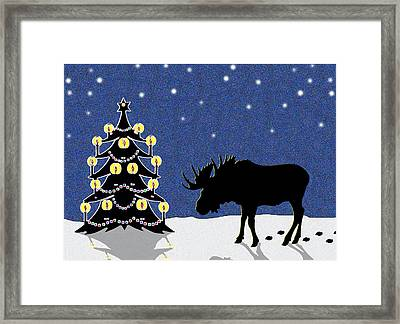 Candlelit Christmas Tree And Moose In The Snow Framed Print by Nancy Mueller