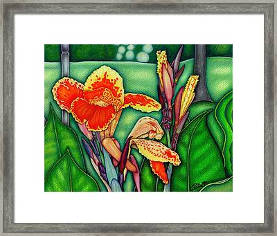 Canna Lilies In Bloom Framed Print by Lorrie Cerrone