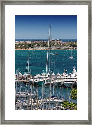 Cannes Harbor And Croisette Framed Print by Melanie Viola