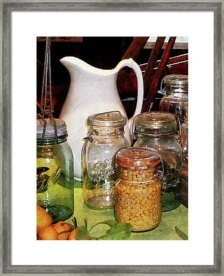Canning Jar With Corn Framed Print by Susan Savad
