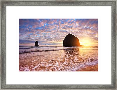 Cannon Beach Sunset Classic Framed Print by Darren  White