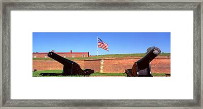 Cannons And Wall At Fort Mchenry Framed Print by Panoramic Images