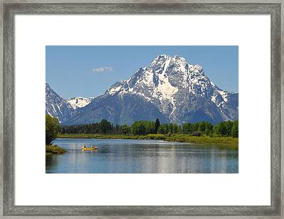Canoe At Oxbow Bend Framed Print by Alan Lenk