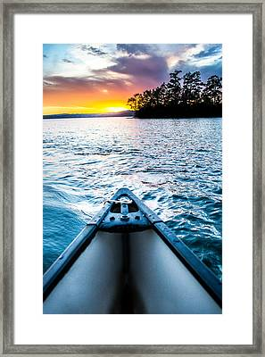 Canoeing In Paradise Framed Print by Parker Cunningham