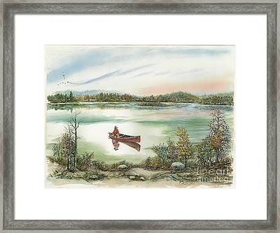 Canoeing On The Lake Framed Print by Samuel Showman