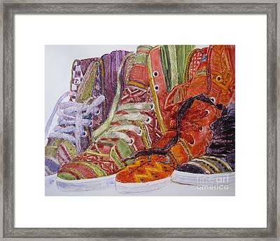 Canvas  Hightops Framed Print by Louise Peardon